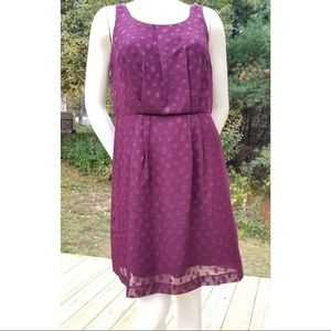 Ann Taylor LOFT Purple Dot Sleeveless Mini Dress